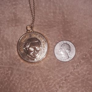 VINTAGE French Good fortune medallion necklacr
